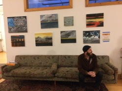The work of the veterans in Soldier On's community arts initiative displayed behind their teacher, Nathan Hanford.